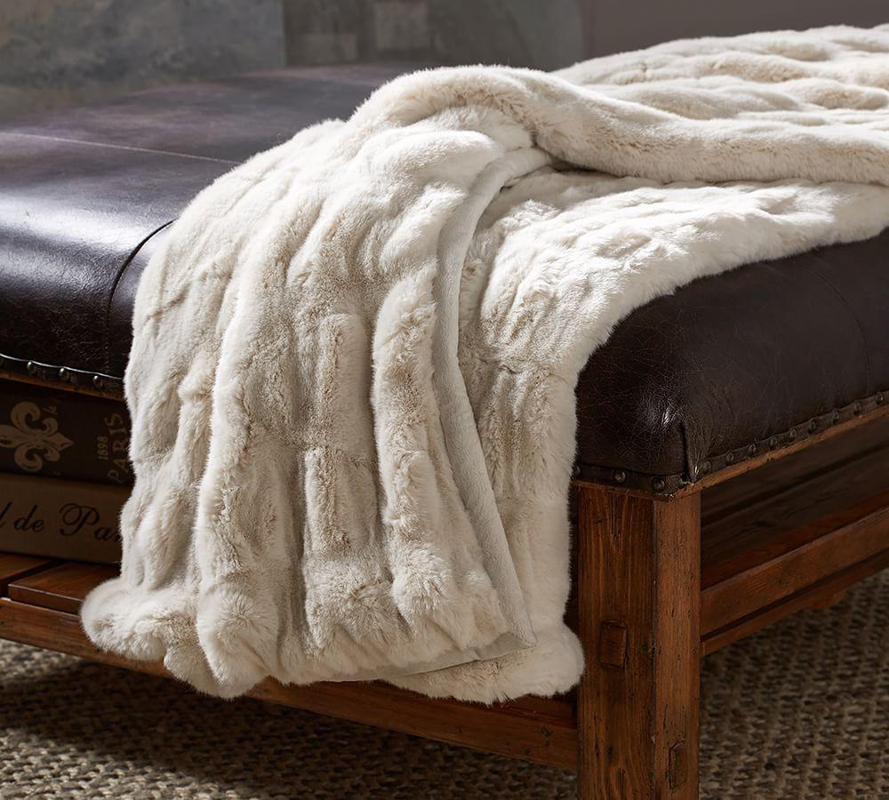 Ruched Faux Fur Throw Pottery Barn Au