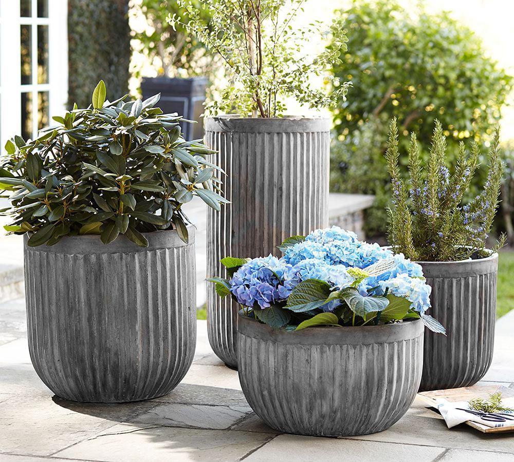 Concrete Fluted Planters Pottery Barn Au