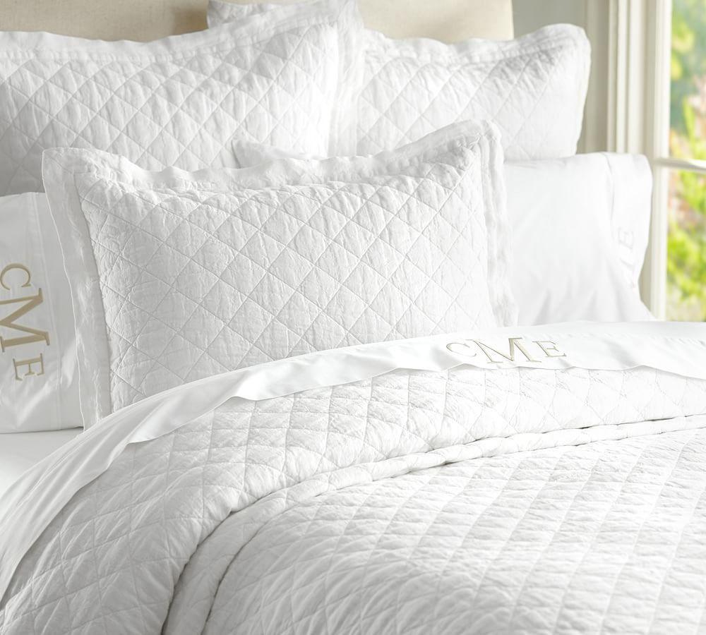 Belgian Flax Linen Diamond Quilt Amp Pillowcases Pottery