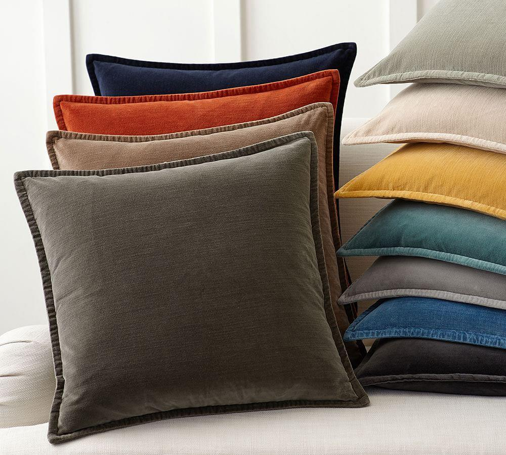How To Wash Throw Pillow Covers : Washed Velvet Cushion Cover Pottery Barn AU