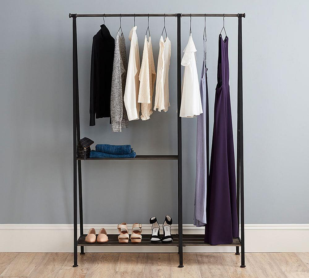 antique grey modular clothes rack pottery barn au. Black Bedroom Furniture Sets. Home Design Ideas