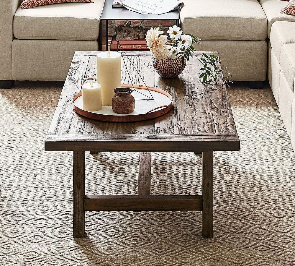 Pine Coffee Table With Turned Legs: Bartol Reclaimed Pine Coffee Table