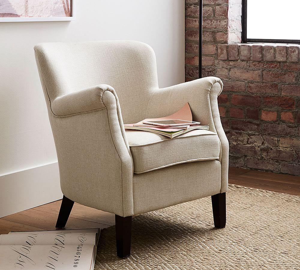 soma petite minna roll arm upholstered armchair pottery barn au. Black Bedroom Furniture Sets. Home Design Ideas