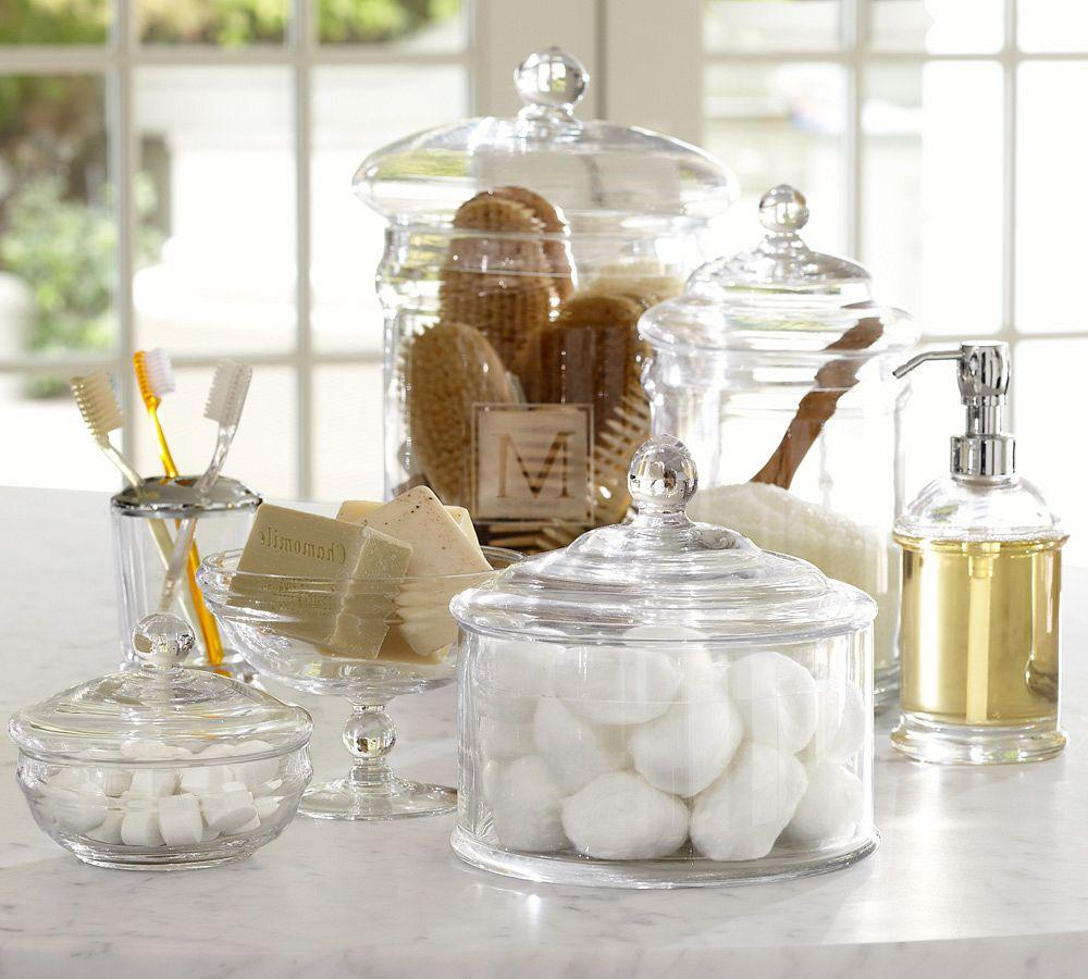 Pb classic glass bath accessories pottery barn au for Gold glass bathroom accessories