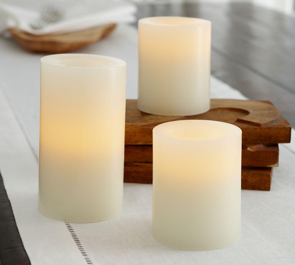 Flameless Wax Pillar Candle - Ivory