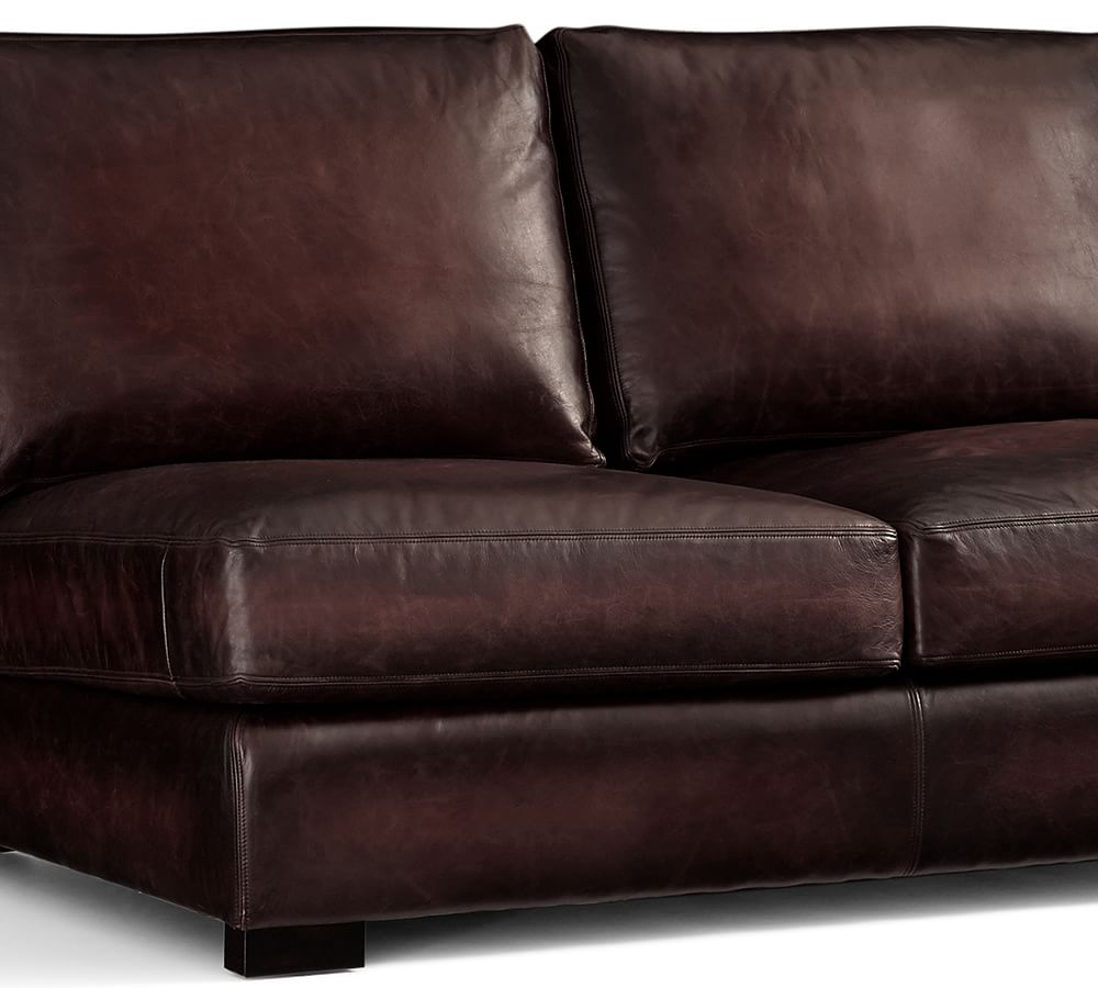 Turner Square Arm Leather Sofa Burnished Walnut 217 Cm