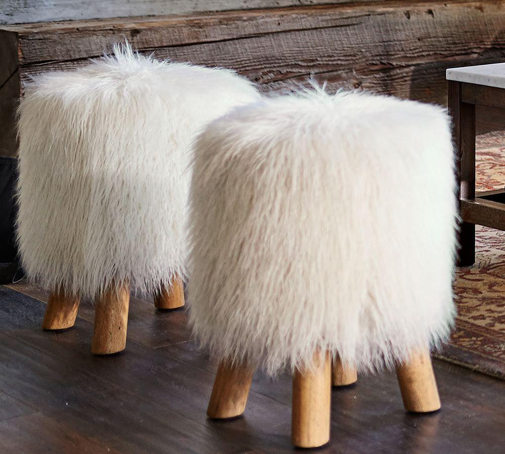 faux fur accent stool  pottery barn au -  faux fur accent stool
