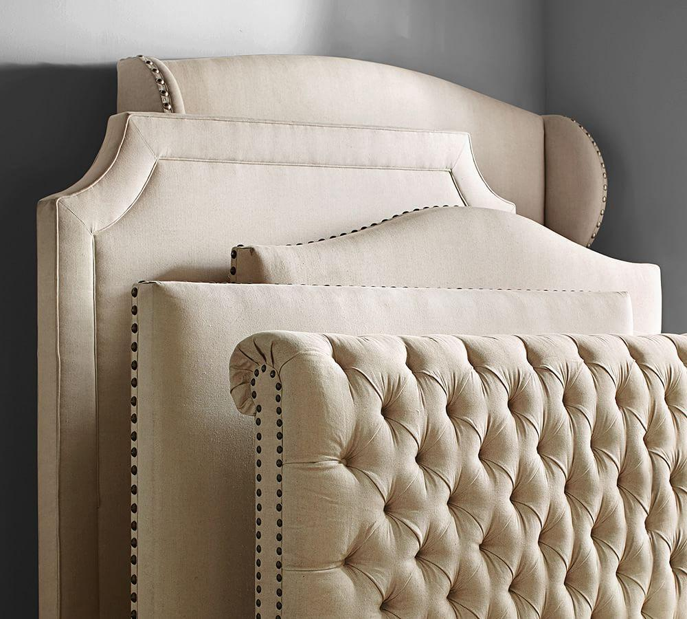 Chesterfield upholstered bed headboard pottery barn Headboard with pictures