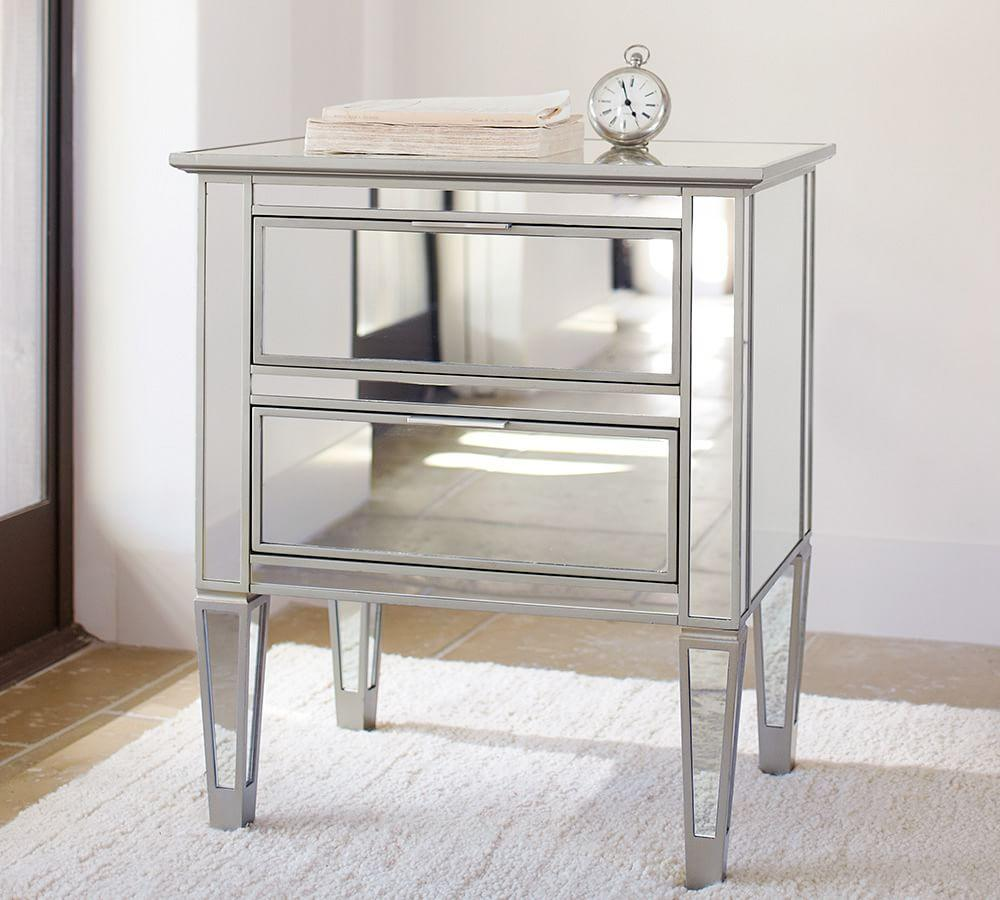 Park mirrored 2 drawer bedside table pottery barn au for Mirror bedside cabinets