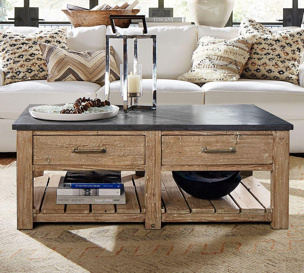 Reclaimed Polished Wood Coffee Table: Parker Reclaimed Wood Coffee Table