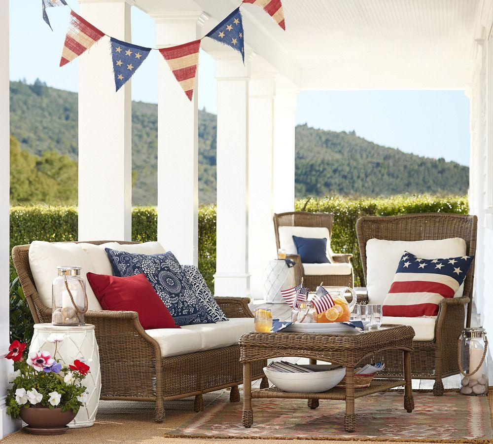 Pottery Barn Furniture Usa: Saybrook All-Weather Wicker Wingback Armchair