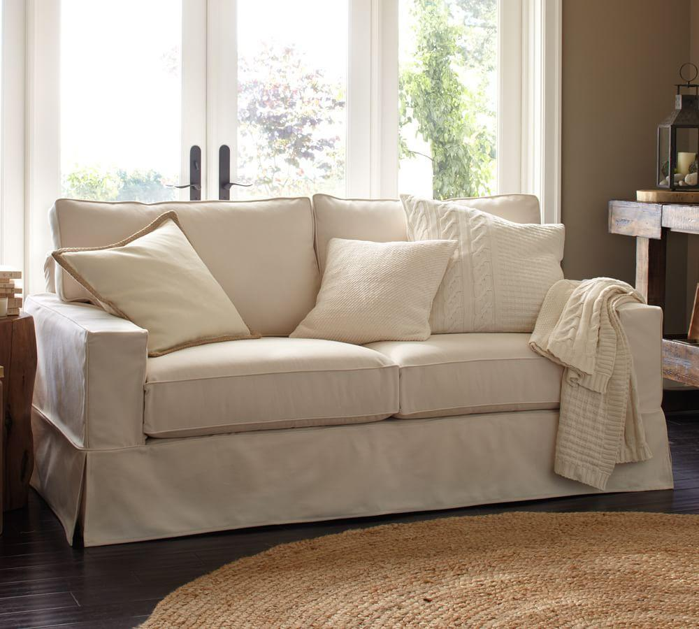 Pb Comfort Square Slipcovered Sofa Ivory 196 Cm