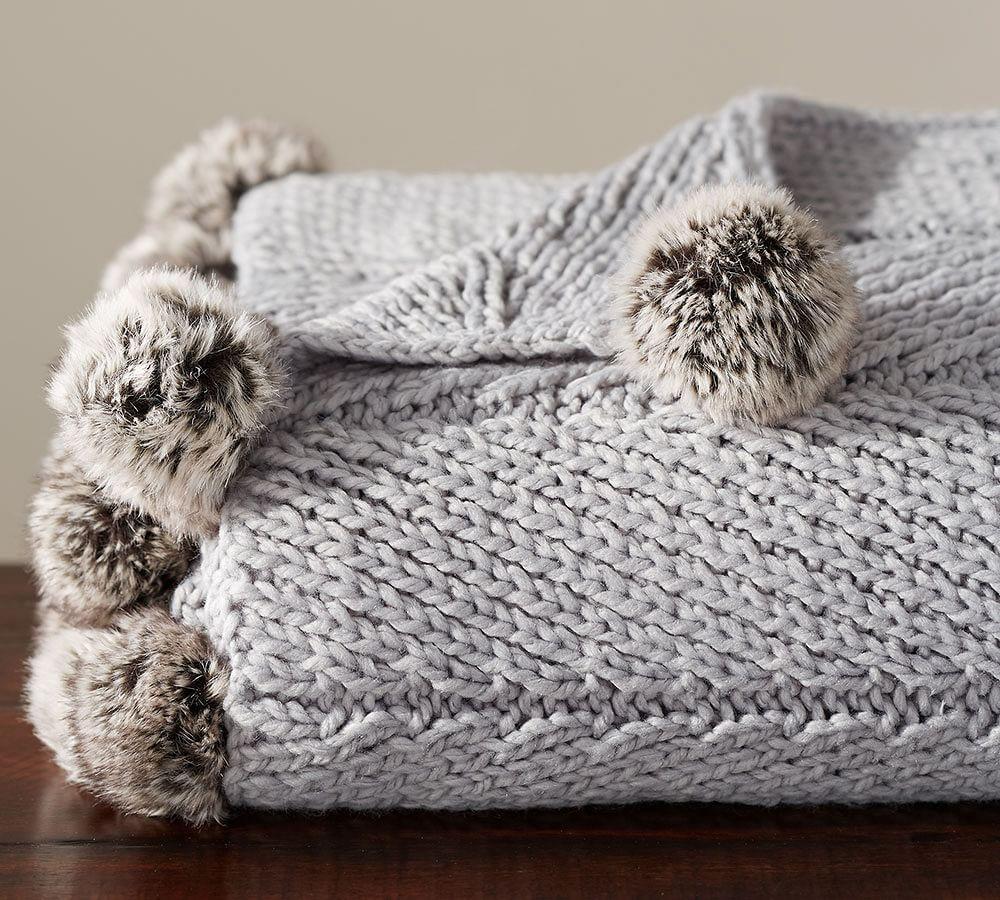 Faux Fur Pom Pom Knitted Throw