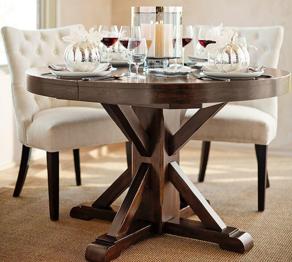 Benchwright Extending Round Dining Table - Rustic Mahogany ...