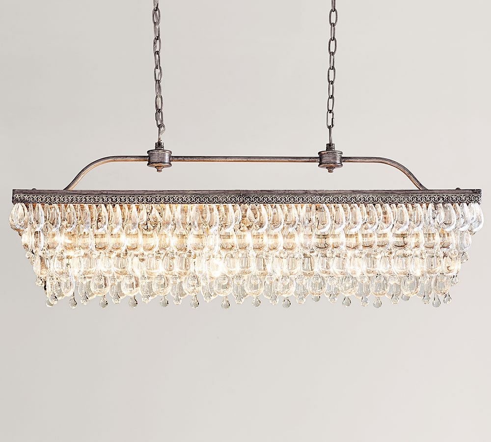 glow long by essentials lighting t rectangular urban product shade chandelier crystal mount flush