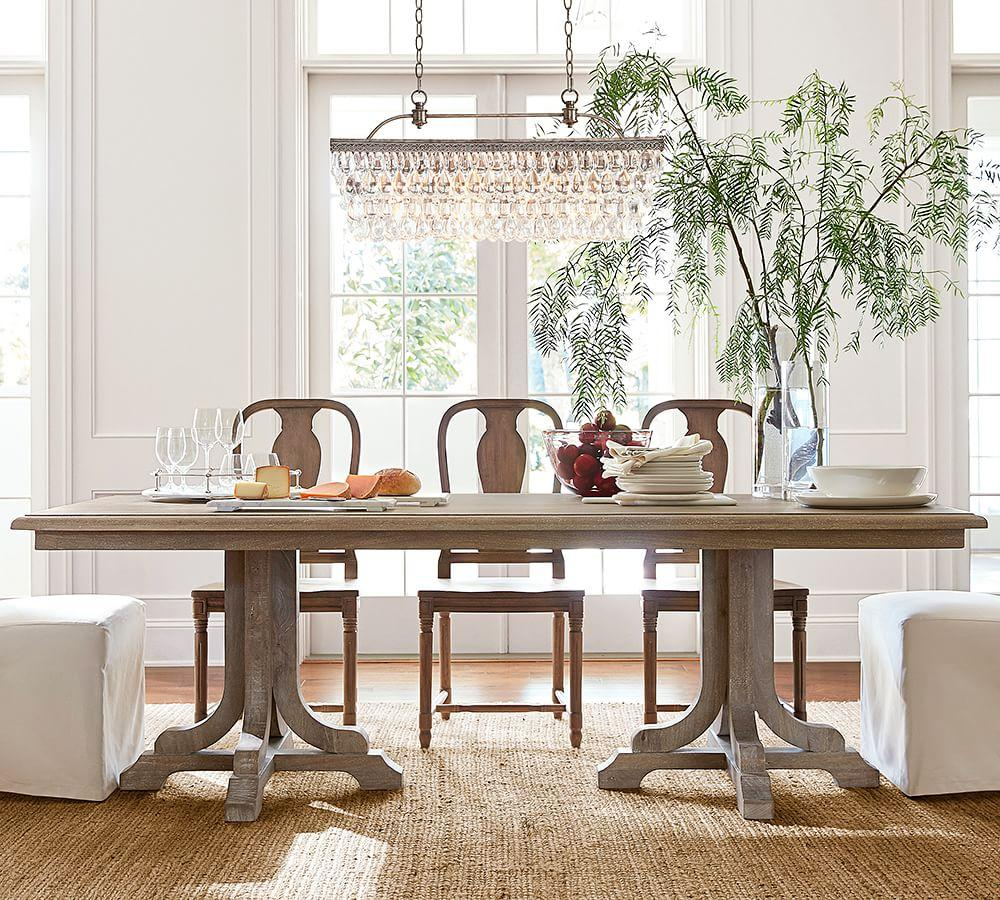 Pottery Barn Dining Room Lamp: Clarissa Glass Drop Rectangular Chandelier