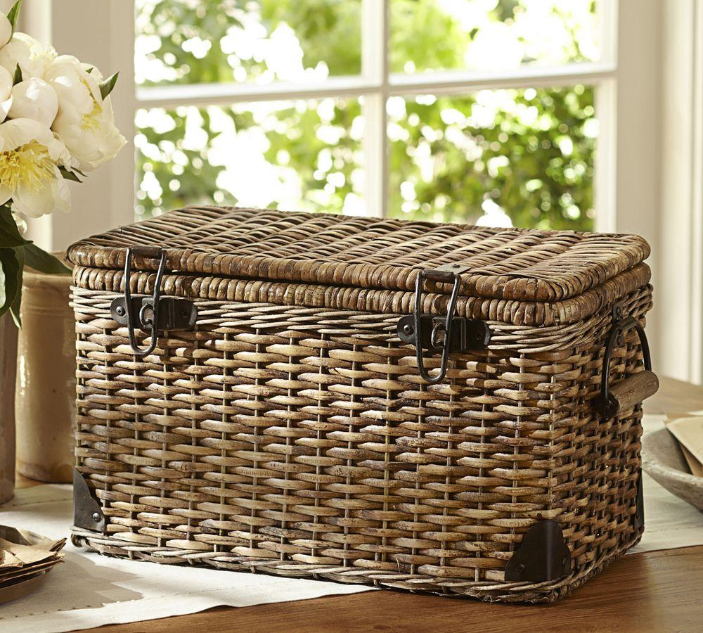 Traditional Small Wicker Basket With Liner&handle : Daytrip lidded large basket pottery barn au