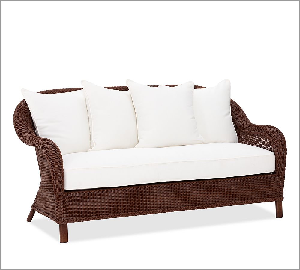 Palmetto All Weather Wicker Sofa Honey Pottery Barn Au