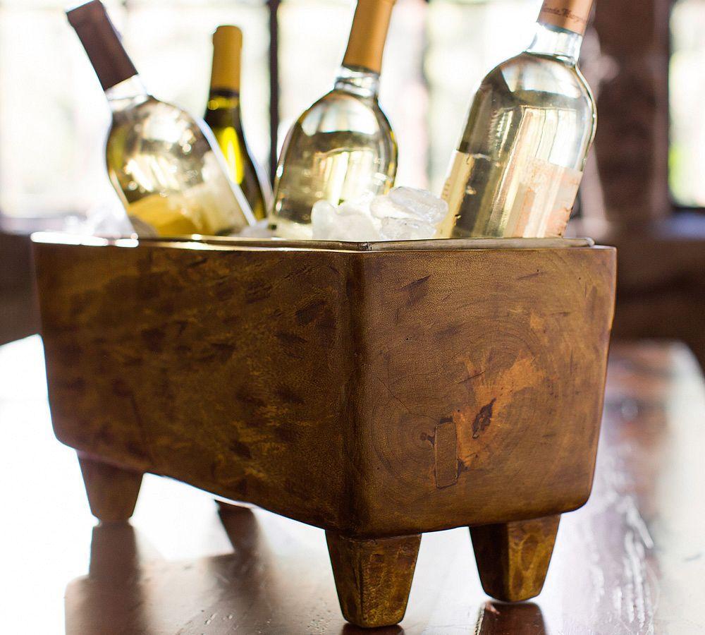 Blonde Wood Wine Trough