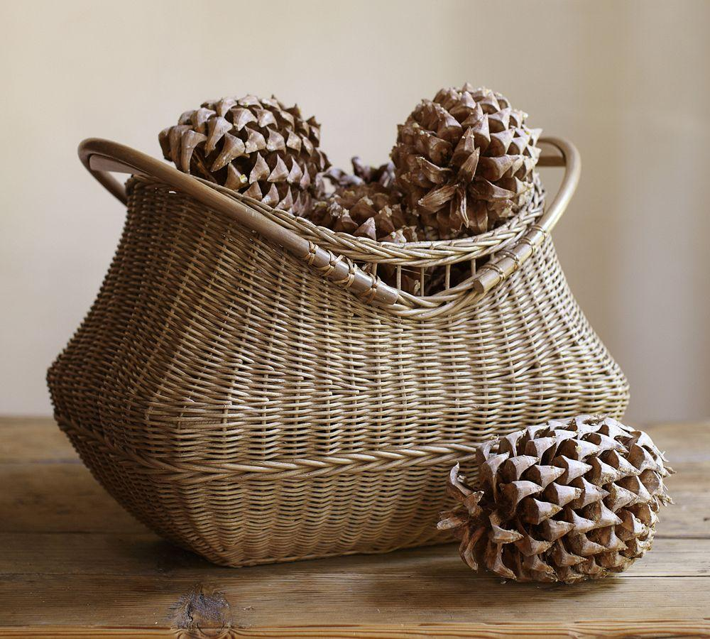 Jacquelyne Wood Handled Basket Pottery Barn Au