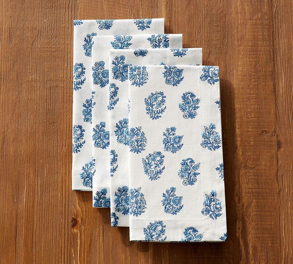 Block Print Napkin Blue Floral Pottery Barn Au