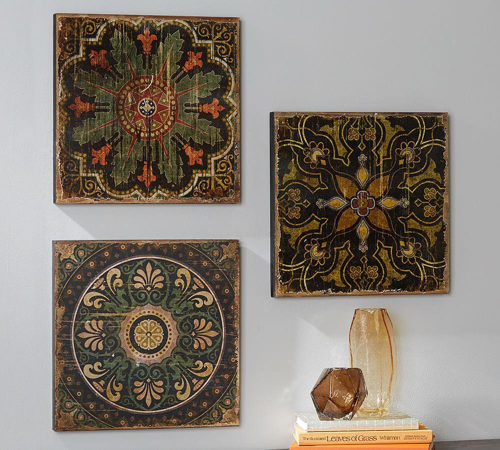 Sahara Printed Wood Tiles Wall Art Set Pottery Barn Au
