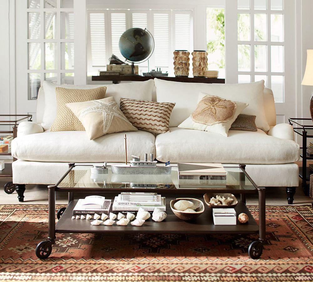 Carlisle Upholstered Sofa Ivory 203 Cm 230 Cm Pottery Barn Au