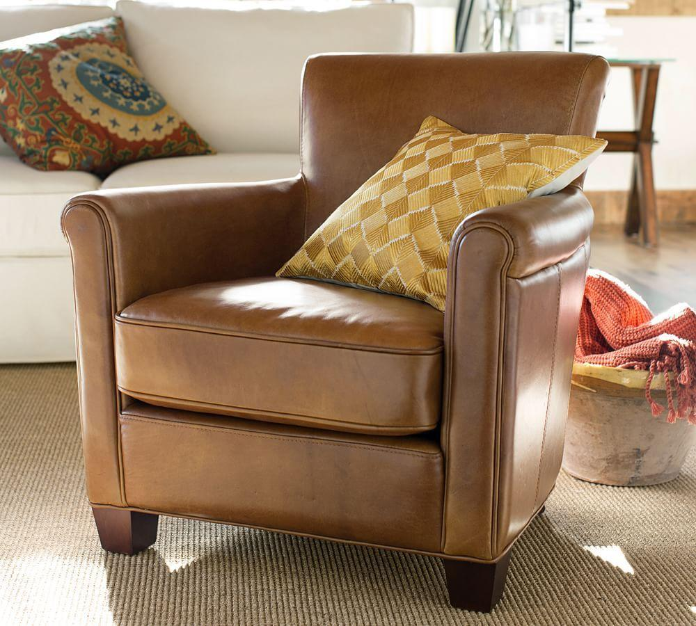 Irving Leather Armchair Chestnut Pottery Barn Au