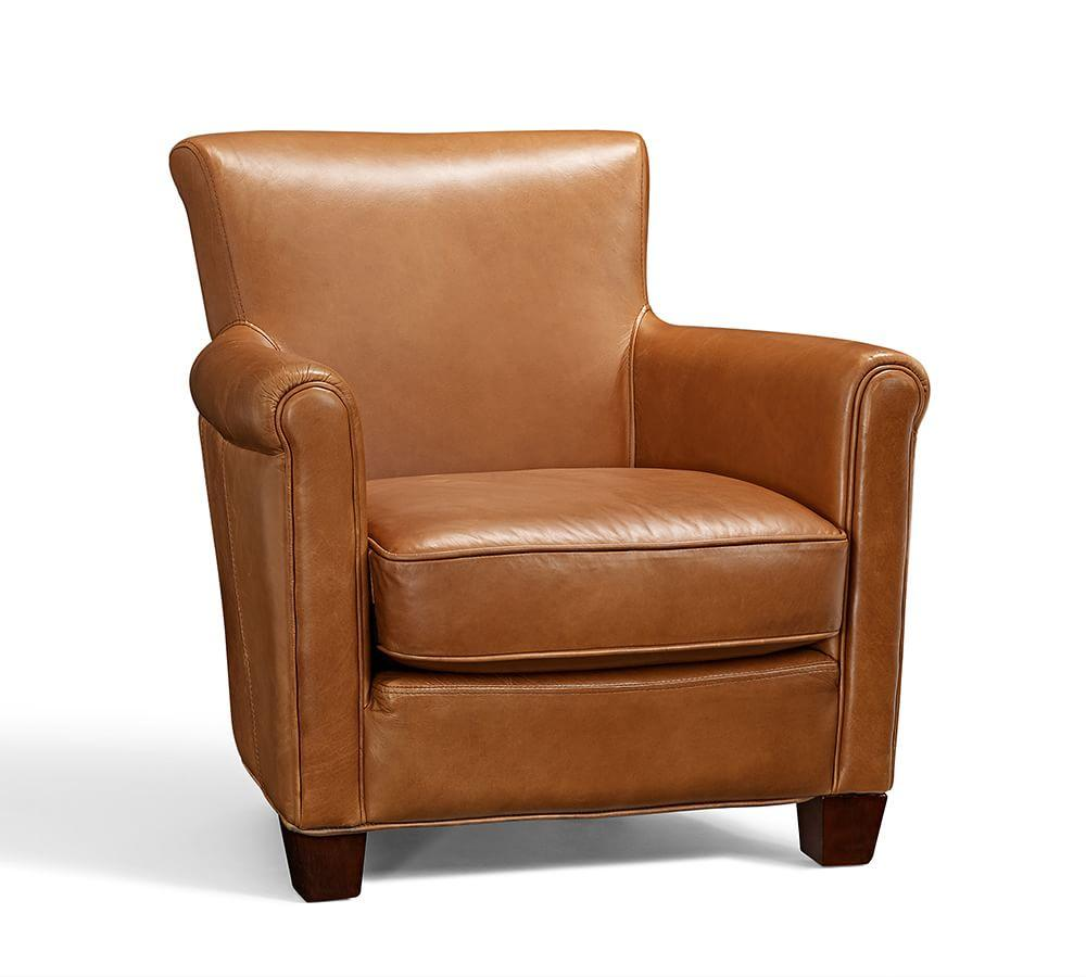 Irving leather armchair chestnut pottery barn au for Armchair furniture
