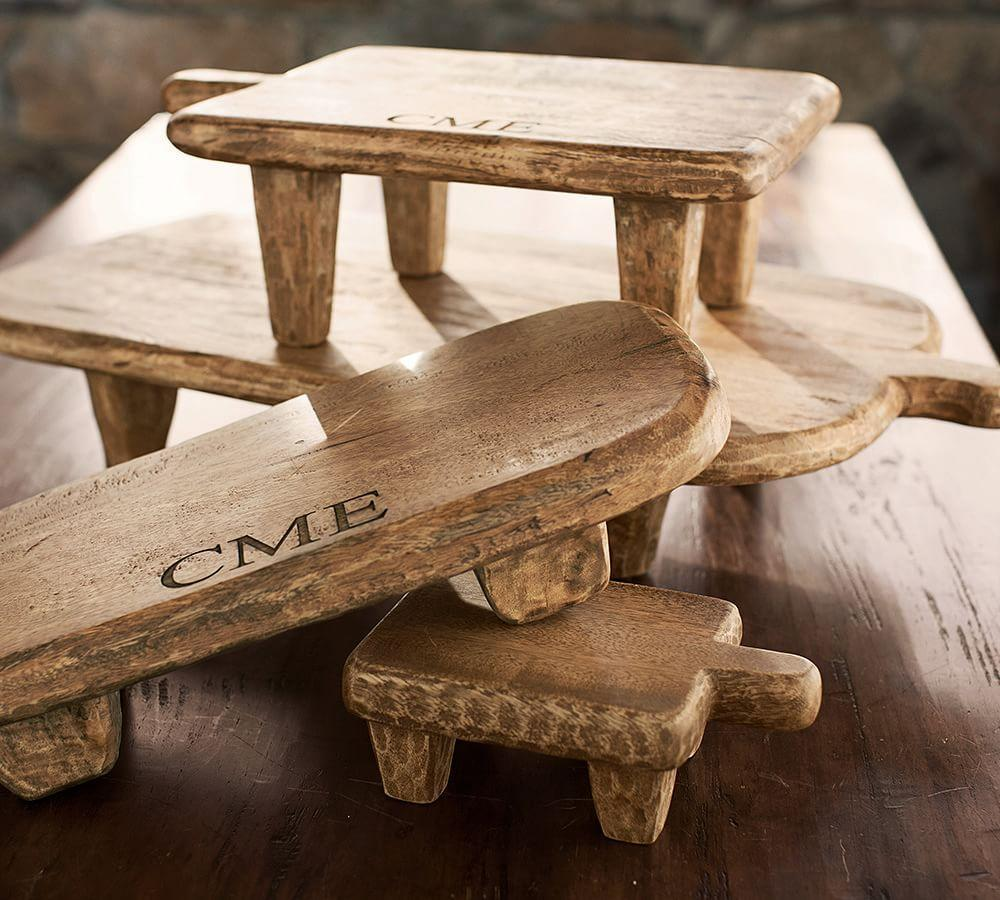 Blonde Wood Paddle Pedestals Pottery Barn Au