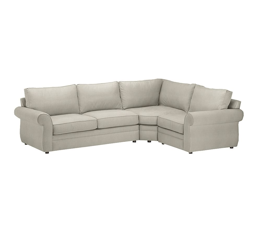 Pearce upholstered 3 piece sectional with wedge silver for 3 piece sectional sofa with wedge