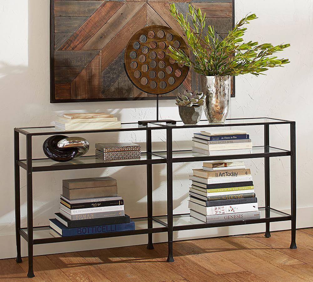 tanner long console table  bronze finish . tanner long console table  bronze finish  pottery barn au