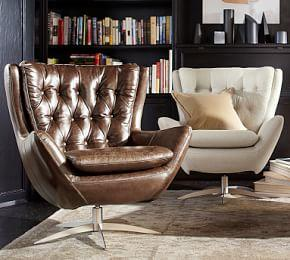 Wells Leather Swivel Armchair - Molasses