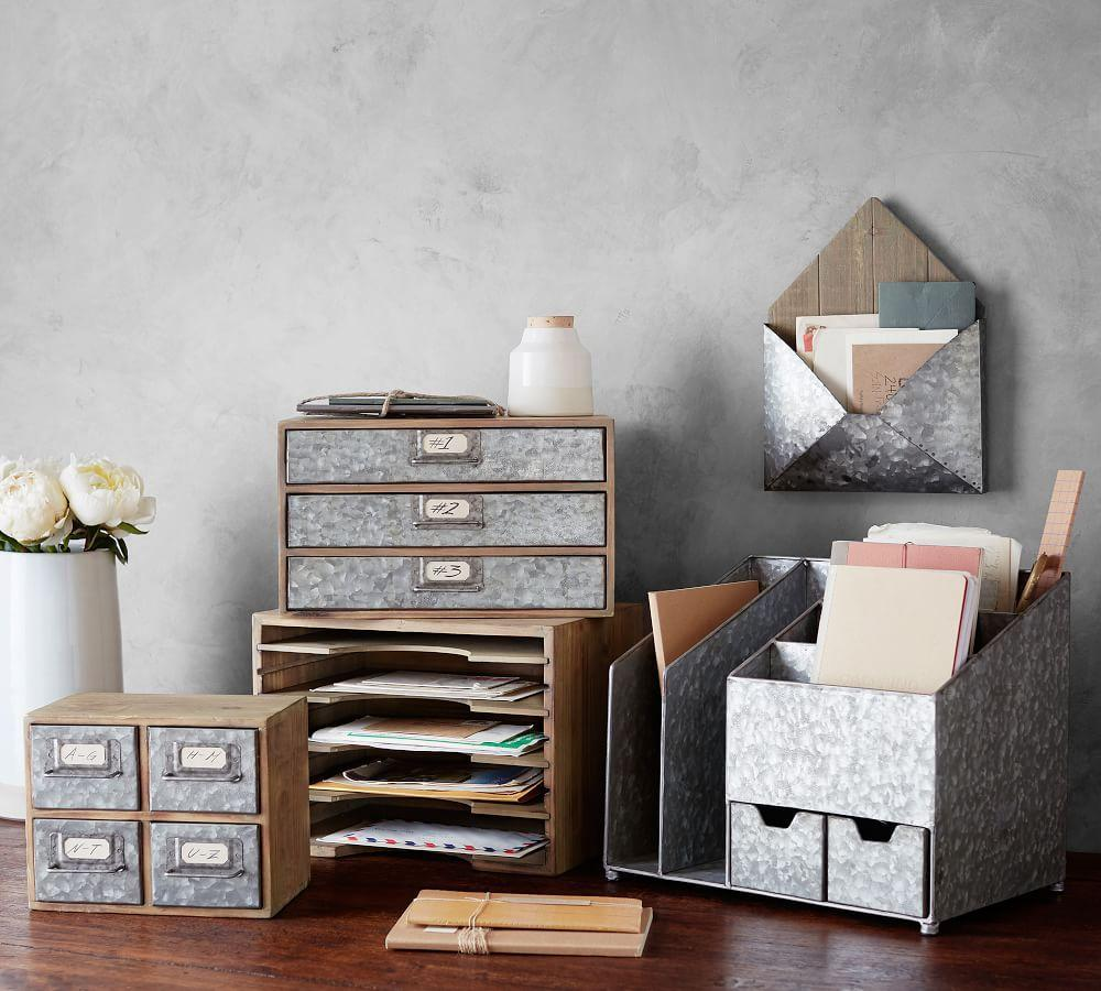 Brokers Wood & Galvanised Home Office Collection