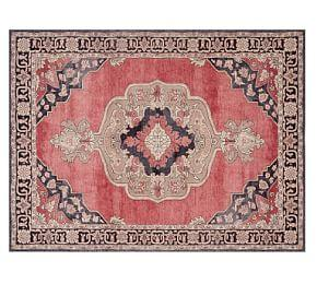 Kayson Tonal Printed Rug - Red Multi