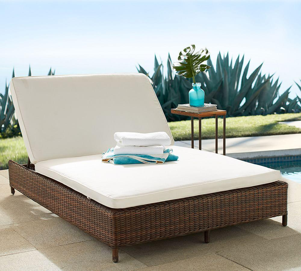 Torrey All-Weather Wicker Double Chaise With Wheels - Espresso