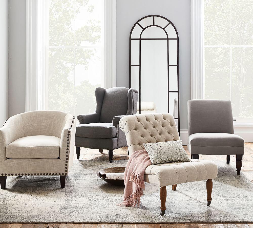 Harlow Upholstered Armchair - Ecru | Pottery Barn AU