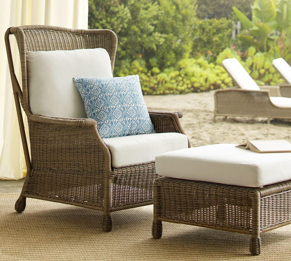 Saybrook All Weather Wicker Wingback Armchair Pottery