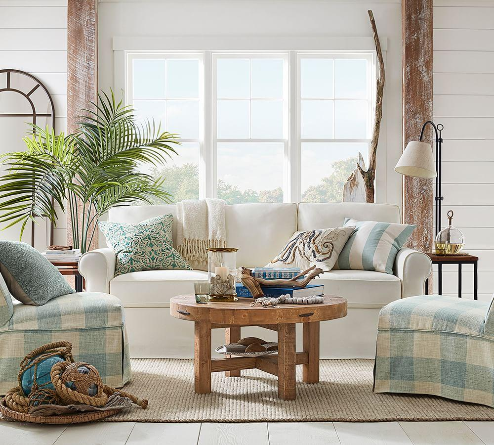 Pottery Barn Living Room With Carpet And Decorative Plant: Arlington Glass + Brass Hurricanes