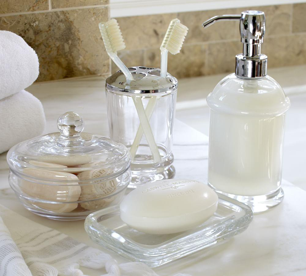 Pb classic glass bath accessories pottery barn au for Looking for bathroom accessories