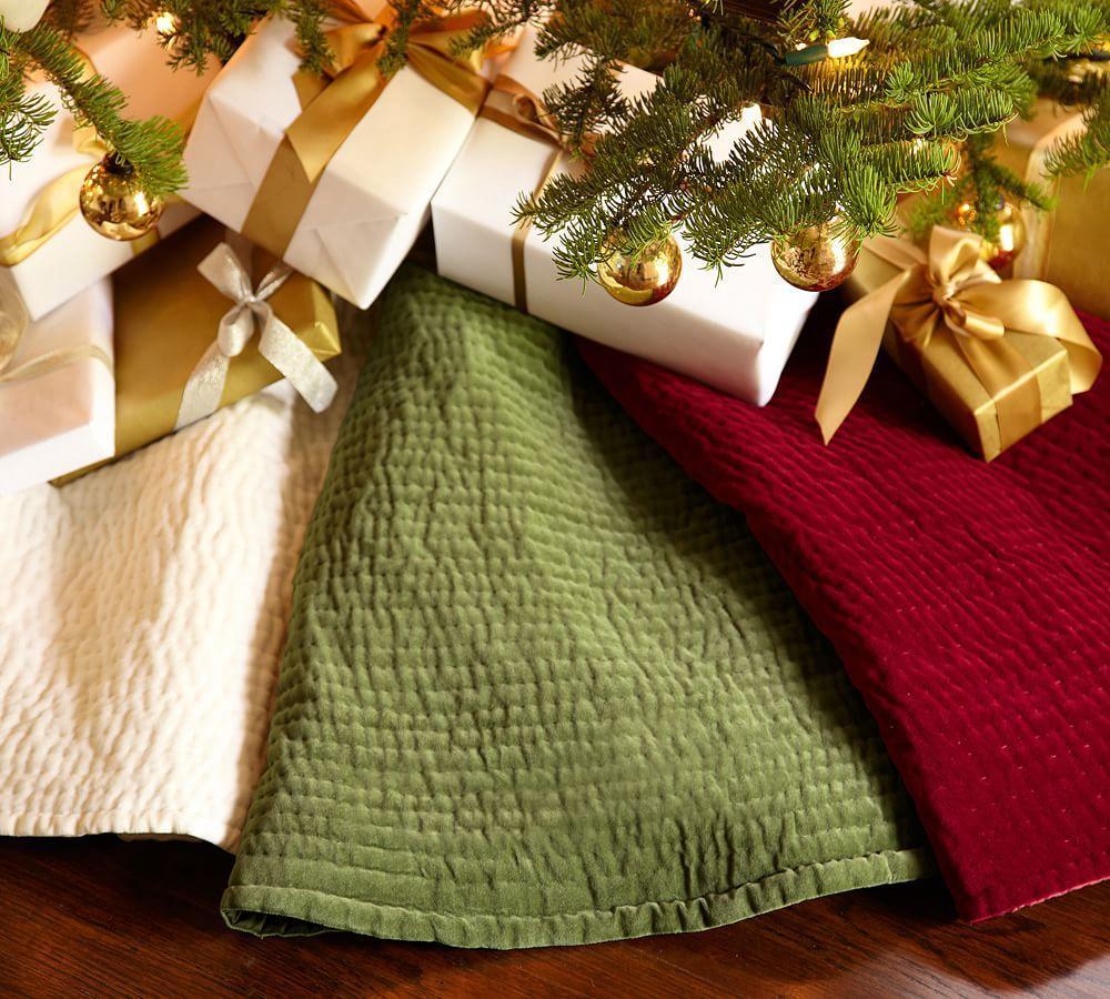 Pottery barn tree skirts -  Channel Quilted Velvet Tree Skirt