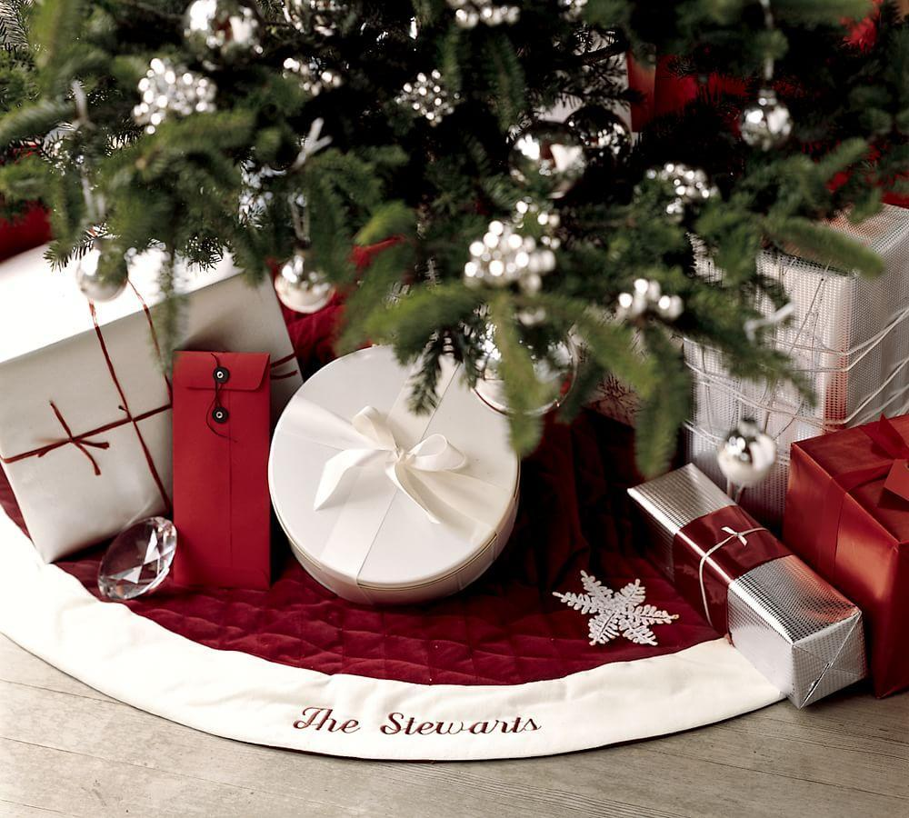 Pottery barn tree skirts -  Velvet Tree Skirt Red With Ivory Cuff