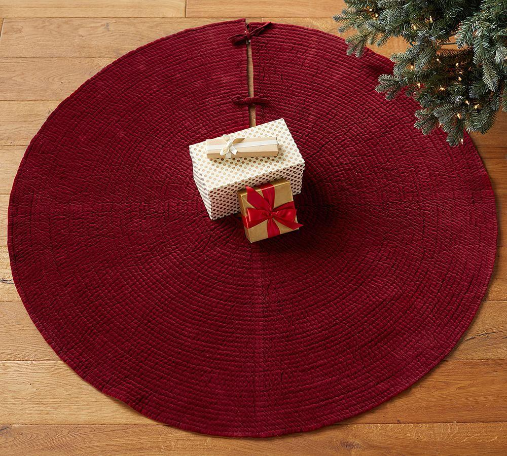 Channel Quilted Velvet Tree Skirt Pottery Barn Au