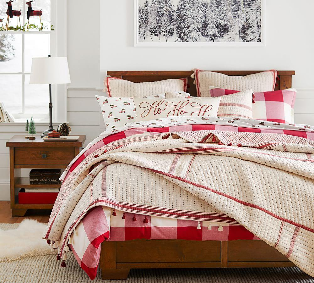 Buffalo Check Quilt Cover Amp Pillowcase Cherry Ivory