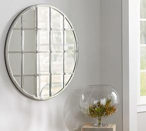 Eagan Multipanel Round Mirror - Silver