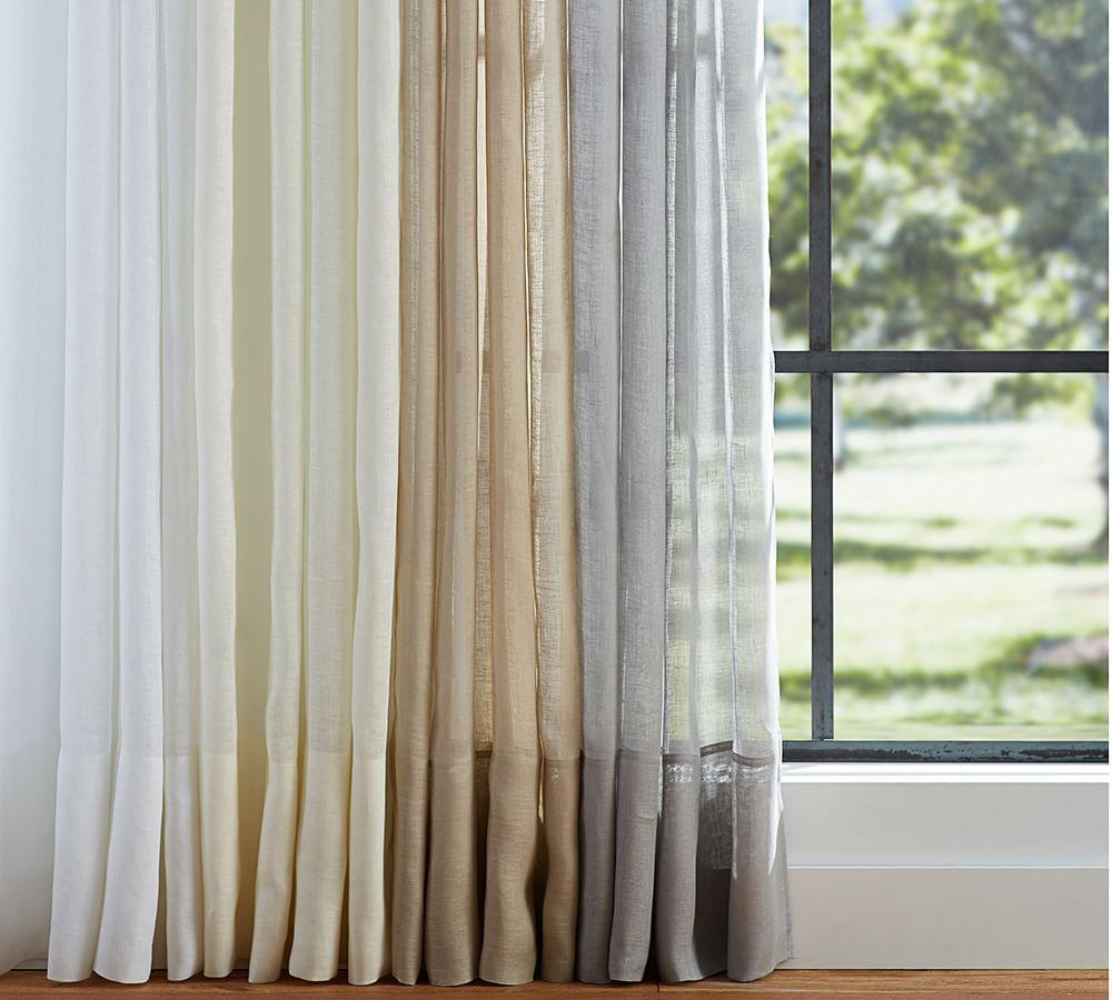 Belgian Linen Flax Sheer Curtain Pottery Barn Au