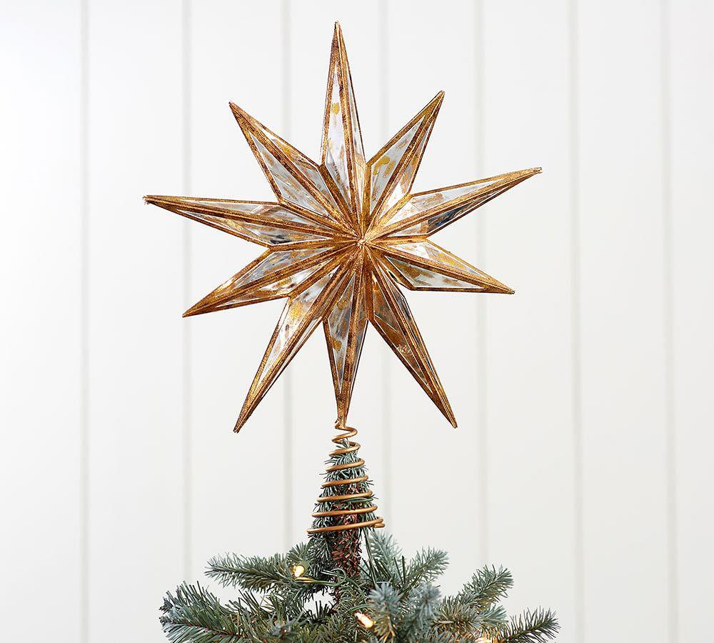 Gold Mirrored Star Tree Topper Pottery Barn Au