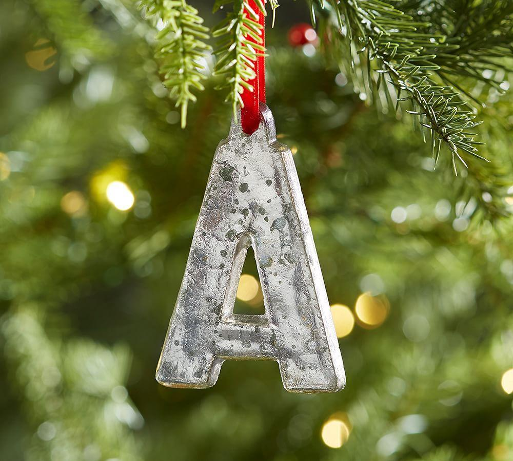 Holiday Decor Gift Ideas Pottery Barn Edition All My: Silver Mercury Letter Ornaments