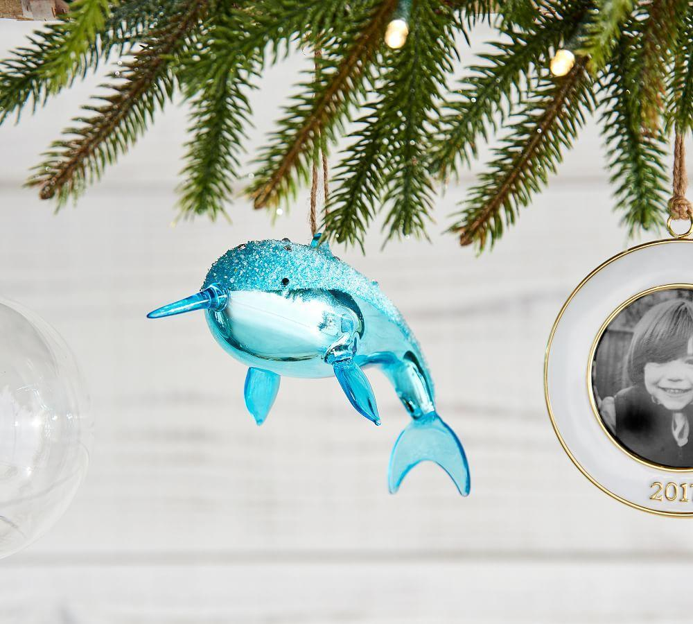 glass narwhal ornament