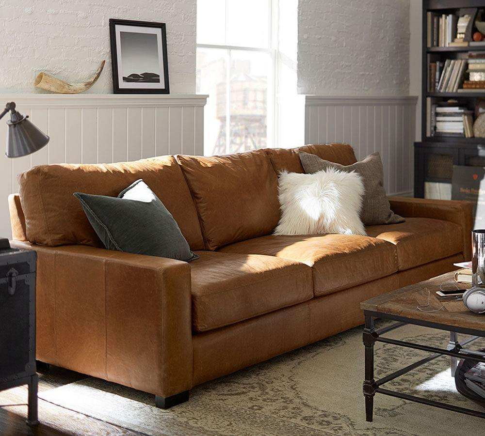 Turner Square Arm Leather Sofa Vintage Caramel 217 Cm